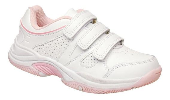 Zapatillas Marcel Cuero Colegial Nenas Abrojo Blanca/rosas