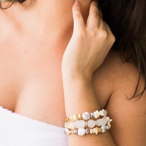 Pulseira Feminina Pedras Naturais Cristais Branco Luxo