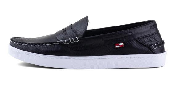 Zapato Náutico Con Vincha Cuero Boating Coast Negro Hombre
