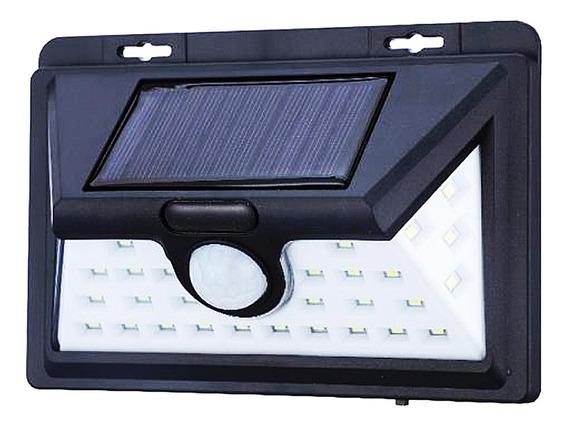 Lampada De Parede Com 32 Leds Energia Solar Luminária Preto