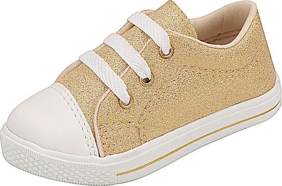 Tênis Infantil Dourado Plis Calçados 453