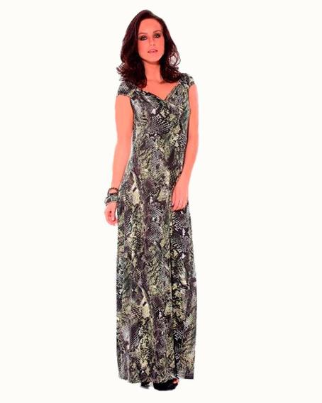 Vestido Feminino Longo Estampado Cobra Casual Festa Elegante
