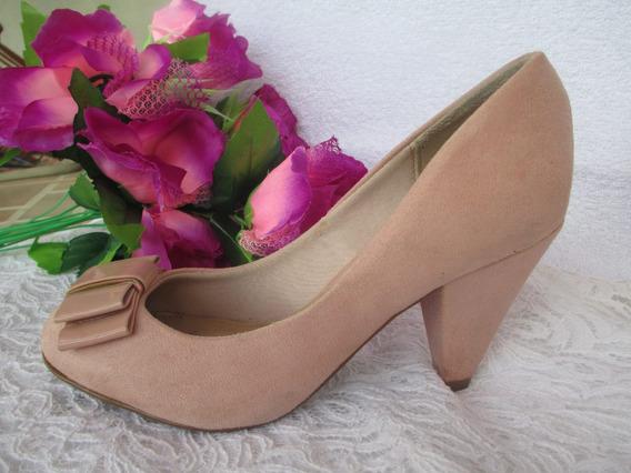 Sapato Salto Rosa Claro Camurça Beira Rio Conforto