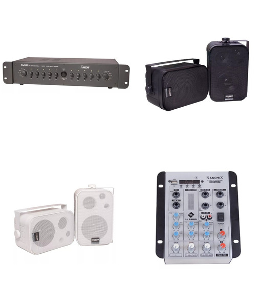 Som Ambiente 10 Canais 30w Mesa Som Usb Bluetooth 10 Caixas