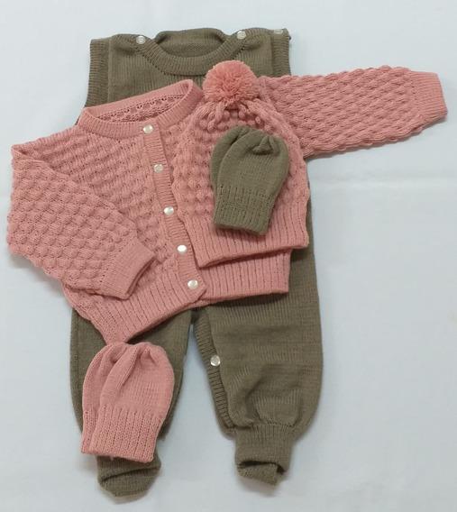Conjunto Rn Com Salopete,casaco,touca E Luva Bicolor Menina