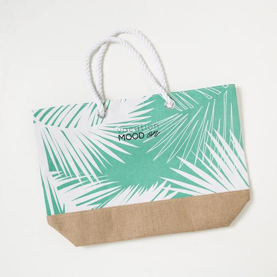 Bolso De Playa Palmeras - Color Verde Claro