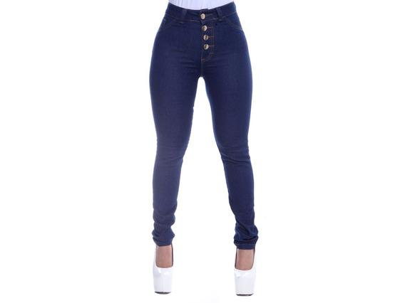 Kit 2 Calça Jeans Feminina Hot P Cintura Alta 4 Botões Lycra