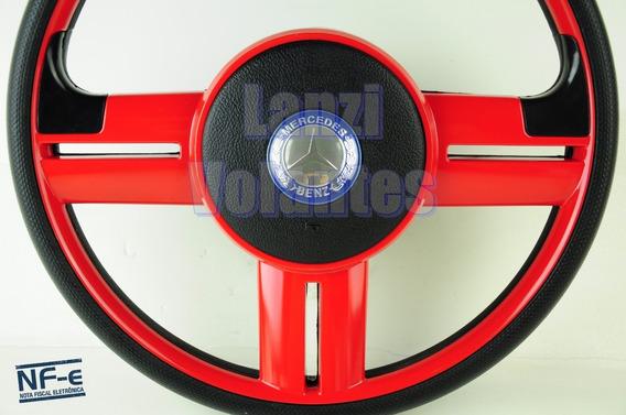 Volante Esportivo Rallye Caminhão Mercedes Vermelho + Cubo