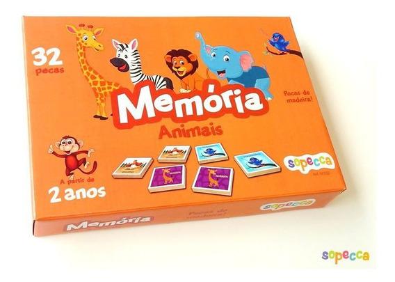 Jogo Da Memória Animais 32 Peças - Sopecca M302
