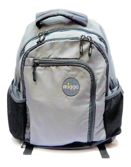 Bolso Miggo Para Laptop 15pulg Color Gris Y Azul Oscuro