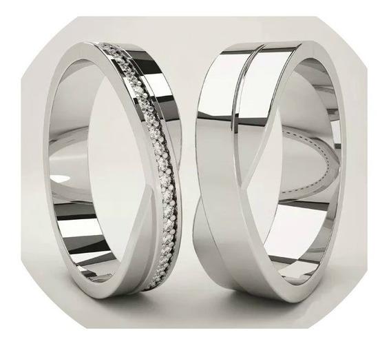 Anillos Matrimoniales De Plata Con Chapa Oro Blanco 18kt M1