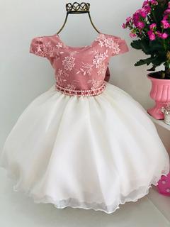 Vestido Nude Festas Princesa Infantil Luxo Aniversário