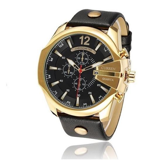Relógio Masculino Curren 8176 Dourado Original Estilo Casual