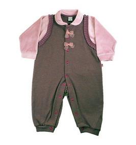 Macacão Para Bebê Longo Marrom E Rosa Para Meninas.
