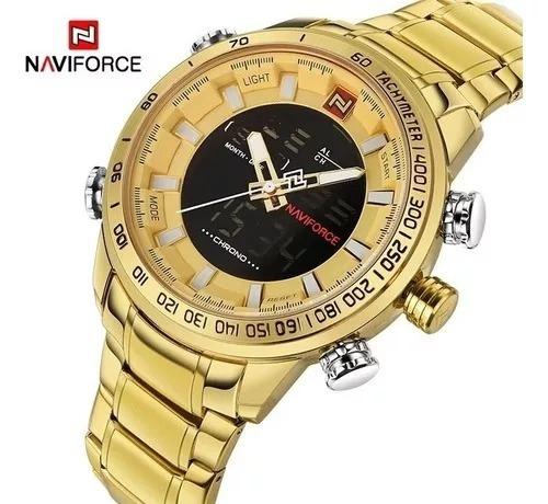 Relógio Dourado Naviforce Luxo Barato! Nf9093m