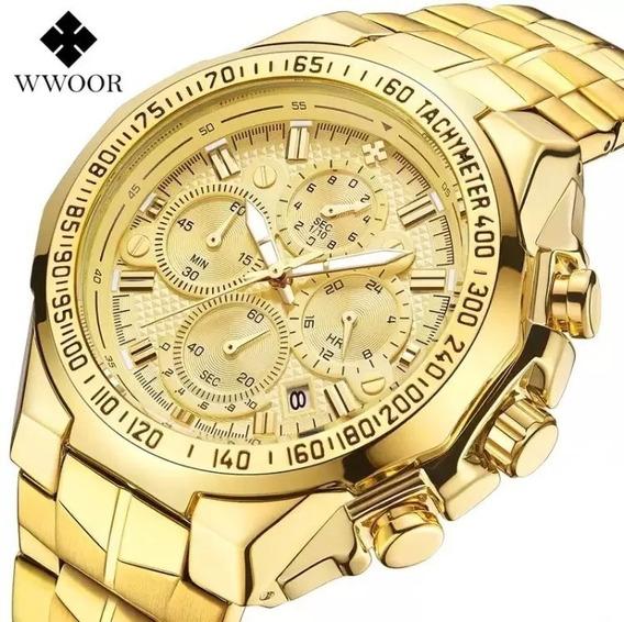 Relógio Masculino Dourado Wwoor Premium Luxo