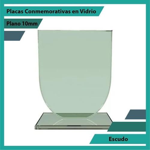 Recordatorios Trofeos En Vidrio Escudo Plano 10mm
