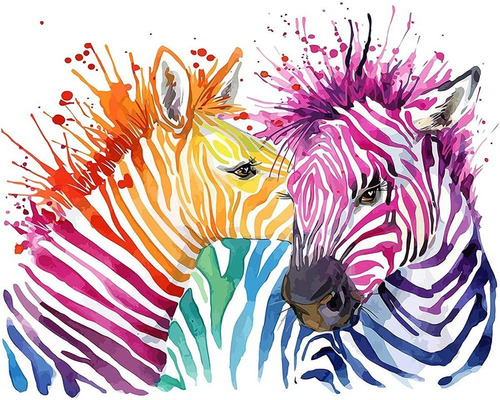 5d Pintura Por Diamantes Kit Colorful Zebra