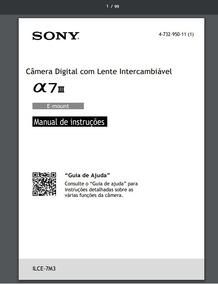 Manual Em Português Da Câmera Fotográfica Sony A 7lll