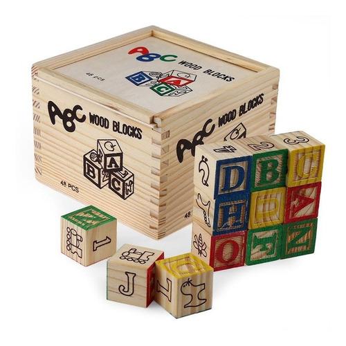 Caja Cubos De Madera Con Letras 48piezas Niño Niña Didactico