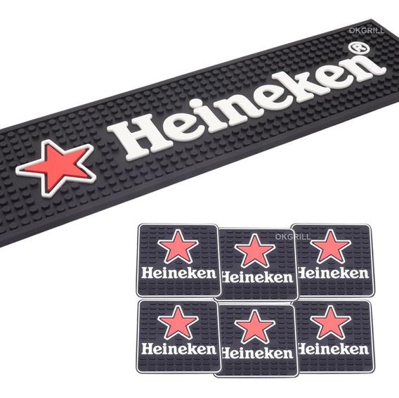 Bar Mat Tapete + 6 Descansos Copo Alto Relevo Heineken Preto