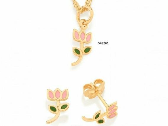 Conjunto Flor Tulipa Folheado A Ouro Com Aplicações De Resin