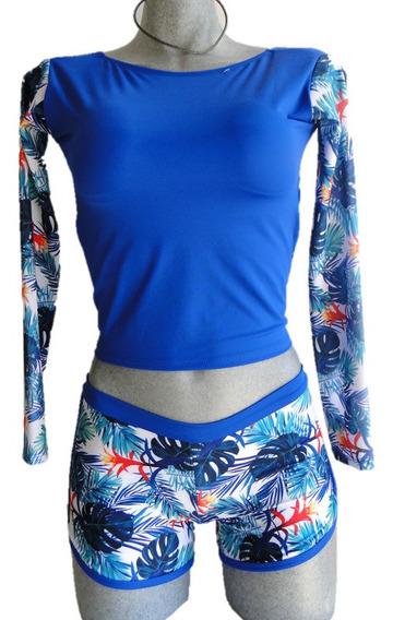Traje De Baño Dama Blusa Crop Top Con Short Azul Rey