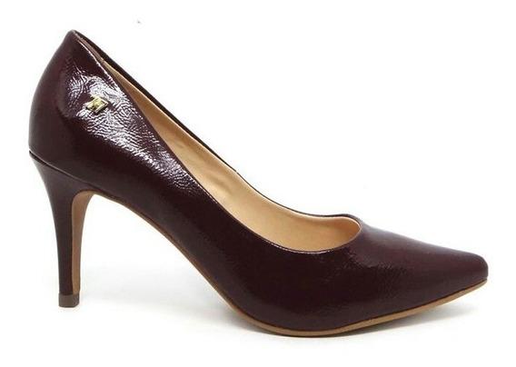 Sapato Scarpin Feminino Classico Salto Medio 8 Cm,cor Bordo