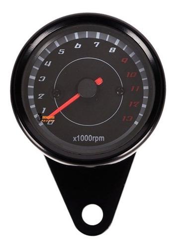 1 Tacómetro De Lujo Para Moto Rpm Negro Análogo Café Racer