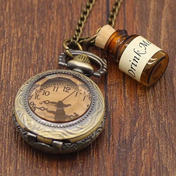 Colar Alice Drink Me Com Relógio Importado