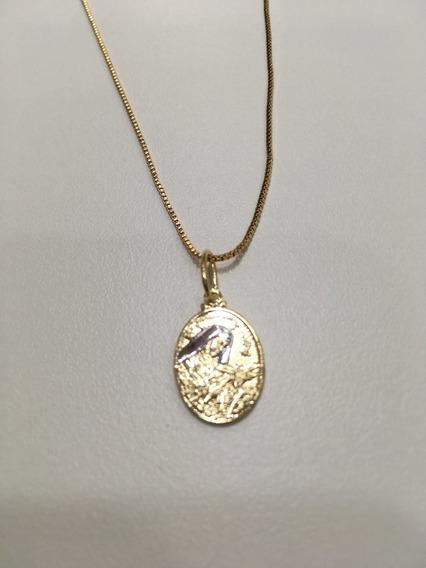 Corrente Folheado Ouro Pingente Medalha Santa Rita De Cassia
