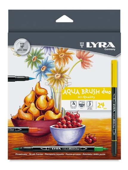 Plumones Lyra Aqua Brush Duo 24 Pzs