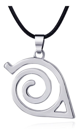 Colar Naruto Simbolo Da Aldeia Da Folha Cor Prata - Mod 2