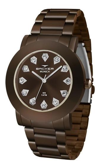 Relógio Backer Feminino Ref: 12032113f Mr Fashion Chocolate