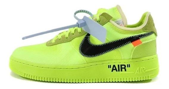 Tênis Off White X Nike Air Force Verde Lançamento Envio Já