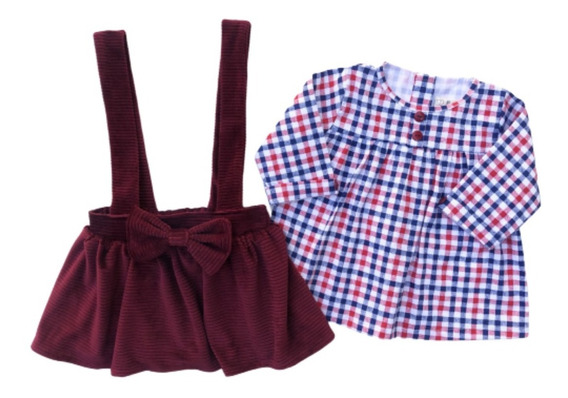 Jumper Niña, Color Tinto Y Blusa Cuadros Rojos