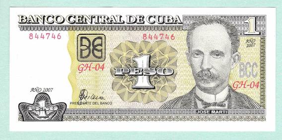 Cuba 2007 Billete De 1 Peso Nuevo Sin Circular Pick Nº 128c