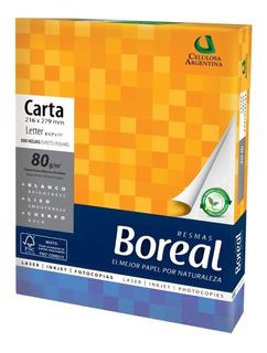 Resma Papel Boreal Carta 80gr 500hojas Blanco Vta Caja X10un