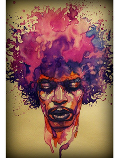 Placa Quadro Decorativo 60x40cm Musica Rock Pop Jimi Hendrix