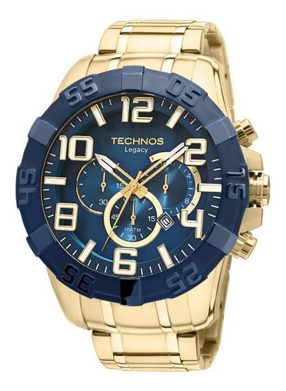 Relógio Technos Dourado E Azul Grande Os20iq/4a