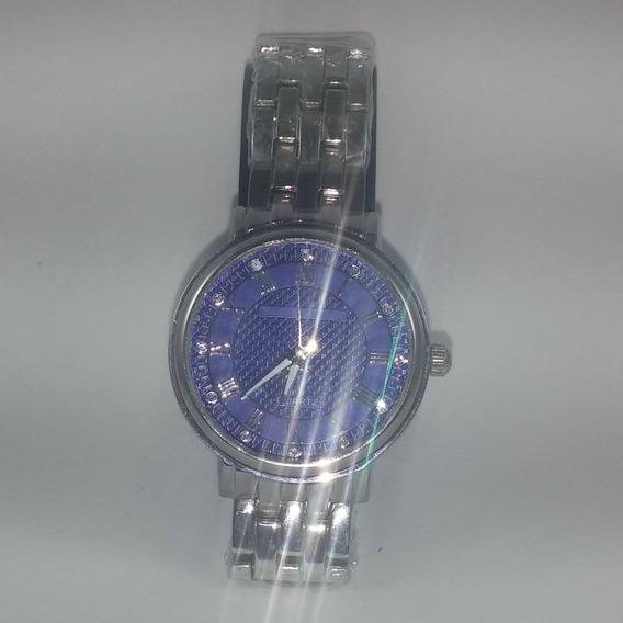 Relógio De Pulso Quartz Prata E Azul