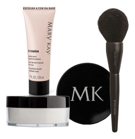 Pó Solto Translúcido + Pincel Para Pó Facial + Base Mary Kay