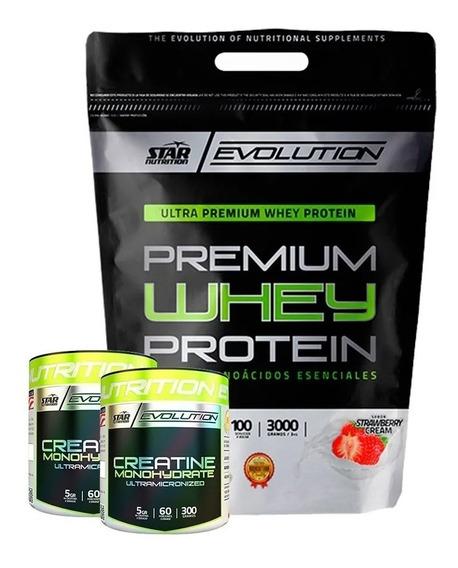 Whey Protein 3 Kg + 2 Creatina X 300 Grs Star Nutrition