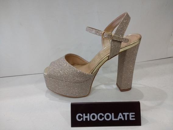 Sandalia Dama Chocolate,glitter,taco Palo Con Plataforma.
