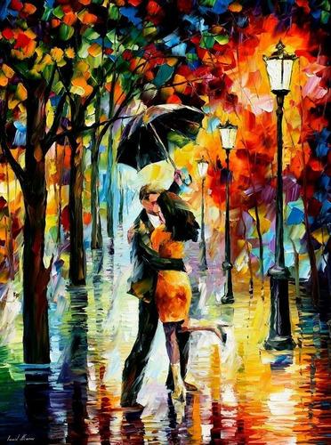 Imagen 1 de 1 de Lienzo Pinta Por Números Pareja Bailando En Lluvia Educar