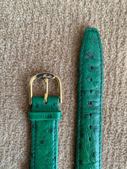Mido,pulseira Relogio,ouro Plaque.couro Avestruz. 18mm,verde