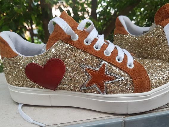 Zapatillas Ricky Sarkany Glitter Doradas Talle 40