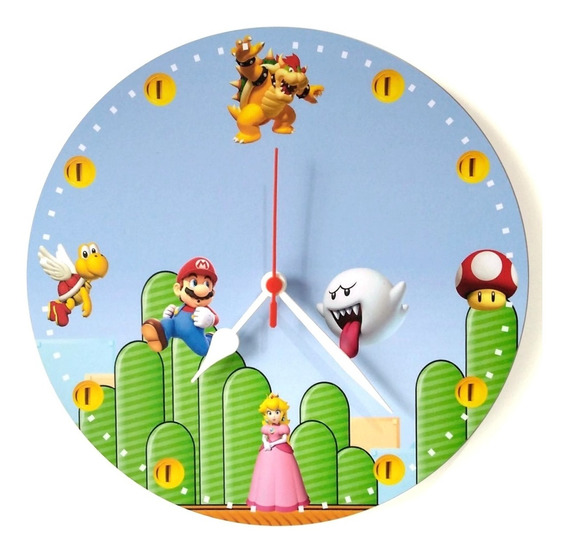 Relógio Parede Super Mario Vídeo Game Nintendo Game 30cm