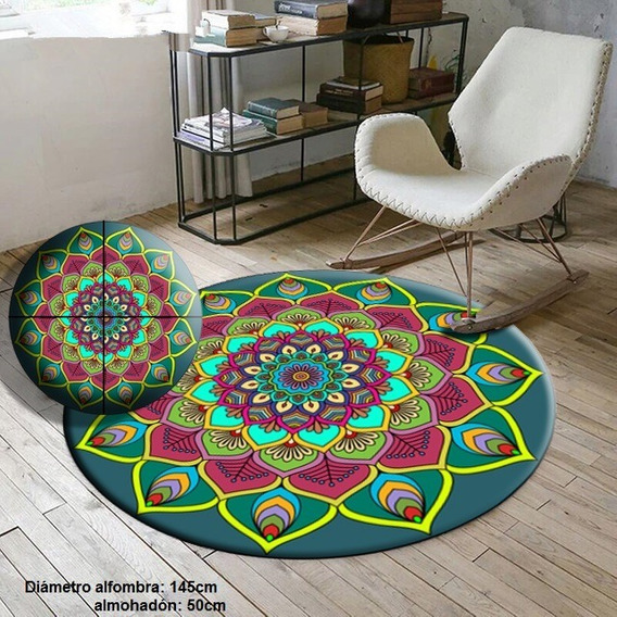 Pie De Cama /alfombra + Almohadón Mandala