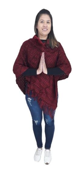 Blusa Poncho Roupas Femininas Tricot Franjas Kimono Barato